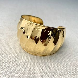 Jewelry - Sterling Silver Gold Vermeil Signed Cuff Bracelet